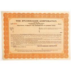Studebaker Corporation - Fractional Warrant for Stock  (89737)