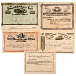 5 Unissued Railroad stock certificates  (82920)