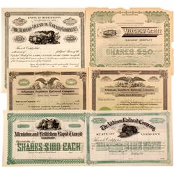 6 Unissued Railroad Stock - East & South  (82924)