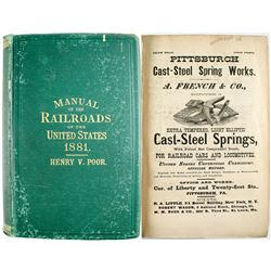 Poor's Manual of Railroads Of the US 1881  (53622)
