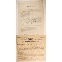 Canada Miner's Certificate and Claim Bill of Sale  (89332)