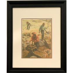 Panning Miners Color Print  (88577)