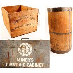 Explosives Box, Nail Keg & First Aid Cabinet  (90246)