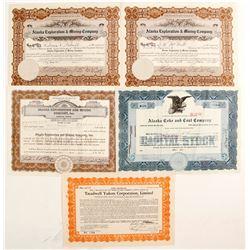 Five Alaska Mining Stock Certificates  (77053)