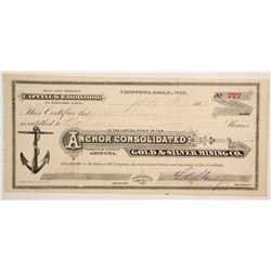 Anchor Consolidated Gold & Silver Mining Company Stock  (77011)