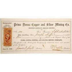 Prima Donna Copper and Silver Mining Company Stock  (90482)