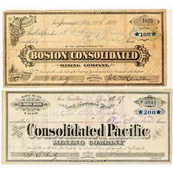 Two Different Bodie Mining Stock Certificates  (34943)