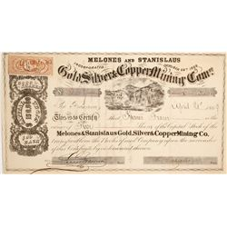 Melones and Stanislaus Gold, Silver & Copper Mining Company Stock  (90507)