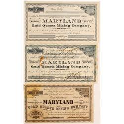 Maryland Gold Quartz Mining Company Stocks  (90427)