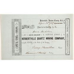 Herbertville Quartz Mining Company Stock - NUMBER 4  (90500)