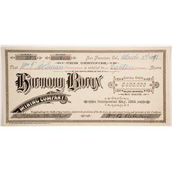 Harmony Borax Mining Company Stock - William T Coleman  (88155)