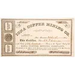Iona Copper MIning Company Stock - NUMBER 1 Signed by Coleman--SF Vigilance Committee & Borax  (90