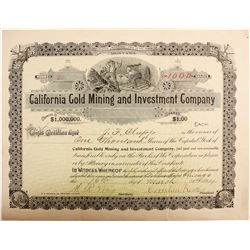 California Gold Mining and Investment Company Stock  (77049)