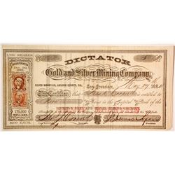 Dictator Gold and Silver Mining Company Stock  (80321)
