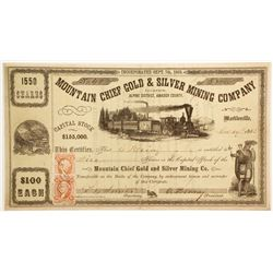 Mountain Chief Gold and SIlver Mining Company Stock with RARE Markleeville Dateline  (80316)