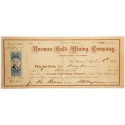 Norman Gold Mining Company Stock  (90441)