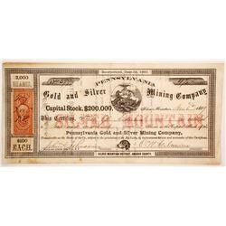 Pennsylvania Gold and Silver Mining Company Stock  (80317)
