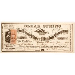 Clear Spring Gold and Silver Mining Company Stock  (80319)