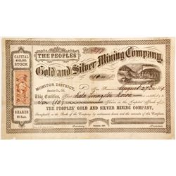 People's Gold & Silver Mining Co., Alpine County, late Amador Stock Certificate  (88148)