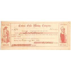 Central Gold Mining Company Stock - Very Rare  (90468)