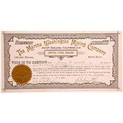 Martha Washington Mining Company Stock - A RARE Women Speculator Mine  (90448)