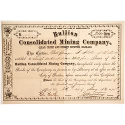 Bullion Consolidated Mining Company Stock Signed by JP Whitney  (89426)