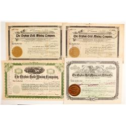 Four Cripple Creek / Orphan Stock Certificates including a NUMBER 1  (89414)
