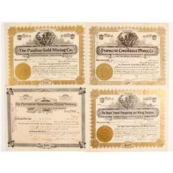 Four Cripple Creek Stock Certificates  (89411)