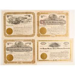 Four Cripple Creek Stock Certificates #2  (89412)