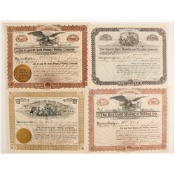 Four Cripple Creek Stock Certificates with Large Shares.   (89413)
