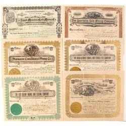 Six Cripple Creek 1890's stocks  (89407)