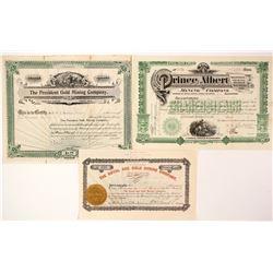 Three Official Sounding Cripple Creek Stocks  (89410)