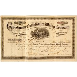 Custer County Consolidated Mining Company Stock Certificate, 1879  (57638)