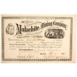 Malachite Mining Company of Colorado Stock to E.L. Berthoud--Colorado Central Railroad  (89460)