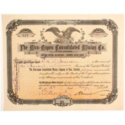 Rico-Aspen Consolidated Mining Company Stock - Signed by Moffat  (89461)