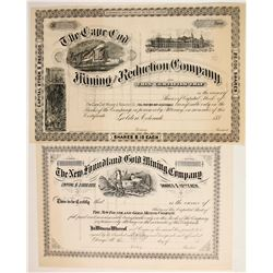 Two unused Colorado and Mining Company Certificates with East Coast Connections  (77035)