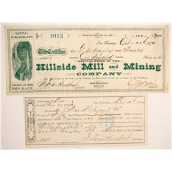 Hillside Mill and Mining Company Stock and Assessment Receipt  (88732)