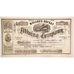 Waller's Defeat Mining Company Stock with 3 William Sharon Signatures.  (88729)
