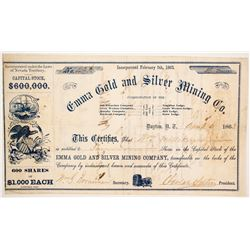Emma Gold and Silver Mining Company Stock - Signed by Adolph Sutro and Named for his Daughter  (8871
