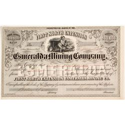 First North Extension Esmeralda Mining Co. Stock Certificate, Aurora, Nevada, 1861  (82000)