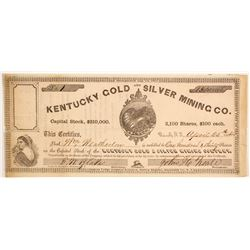 Kentucky Gold and Silver Mining Company Stock Signed by Assayer FW Blake  (88719)