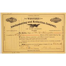 Western Amalgamating and Reduction Co of New Jersey Stock  (90609)