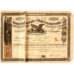 Guadaloupe & Sacramento Gold & Silver Mining Co. Stock Certificate, 1866, Sinaloa, Mexico  (57637)