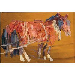 Leon Gaspard-Pair of Horses