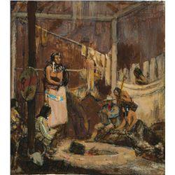 Kenneth Riley-Study For Artist-Explorer in Mandan Lodge