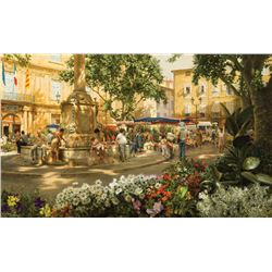 Clark Hulings-Aix en Provence Flower Market