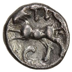 ANCIENT BRITAIN: ATREBATES AND REGNI: Tincommius, ca. 20 BC-5 AD, AR unit (1.22g), ND. EF