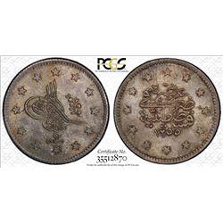 TURKEY: Abdul Mejid, 1838-1861, AR kurush, Kostantiniye, AH1255 year 13/12, PCGS MS64