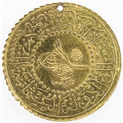 TURKEY: Abdul Hamid II, 1876-1909, AV 25 kurush (1.77g), AH1293 year 23. EF