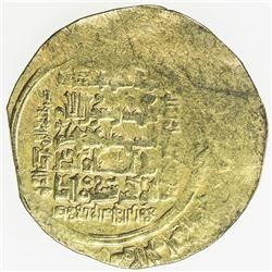GREAT SELJUQ: Sanjar, 1118-1157, AV (pale) dinar (2.00g), Balkh, AH515, A-1687, 25% flat strike, VF,